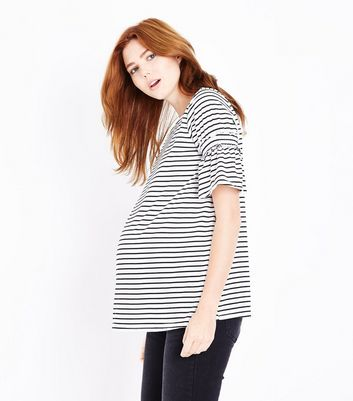 Maternity White Stripe Shirred Sleeve T-Shirt