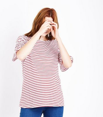 Maternity Red Stripe Shirred Sleeve T-Shirt
