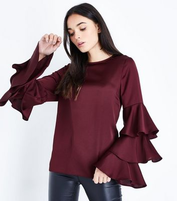 Tall Burgundy Satin Tiered Sleeve Blouse
