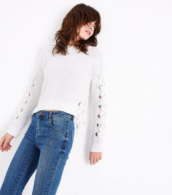 Cream Chenille Eyelet Lace Up Jumper
