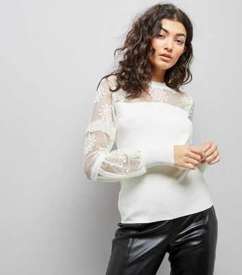 White Lace Insert Balloon Sleeve Jumper