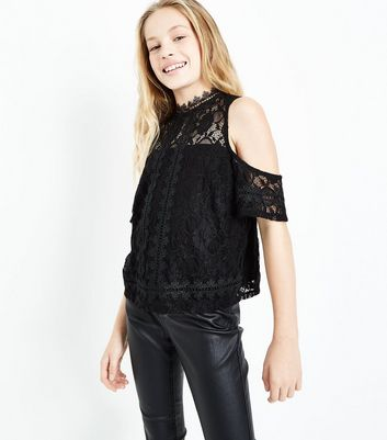 Teens Black Lace Cold Shoulder Top