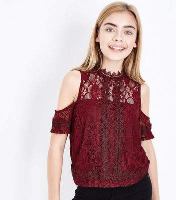Teens Burgundy Lace Cold Shoulder Top