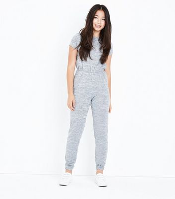 Teens Grey Fine Knit Jumpsuit