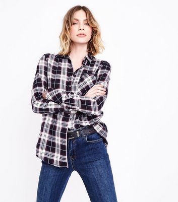 Tall Blue Check Longline Shirt