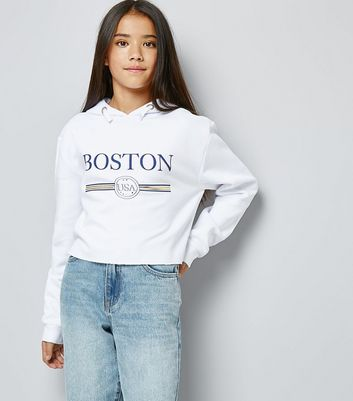 Teens White Boston Slogan Print Hoodie