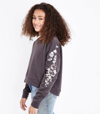 Teens Charcoal Grey Floral Puff Print Sweater