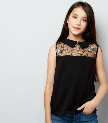 Teens Black Embroidered Sheer Panel Top