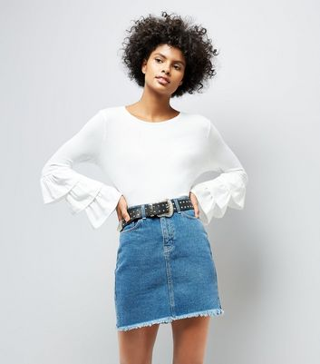 White Frill Layered Sleeve Top