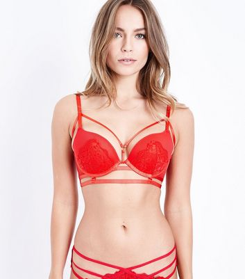 Red Strappy Lace Bra
