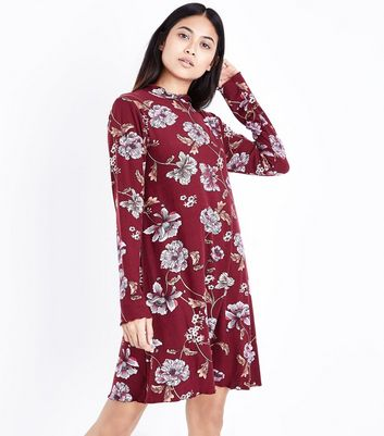 Petite Red Floral High Neck Swing Dress