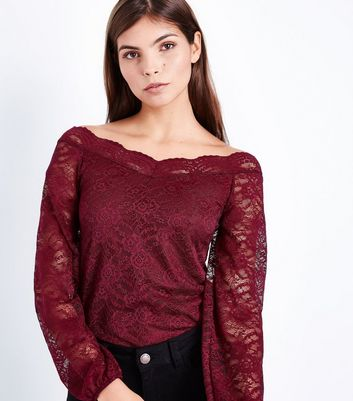 Burgundy Lace Sweetheart Neck Top