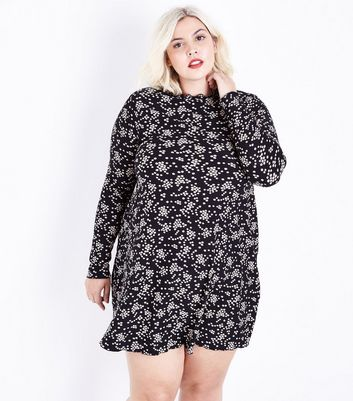 Curves Black Floral Print Jersey Swing Dress