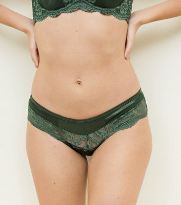 Khaki Satin Lace Trim Brazilian Briefs