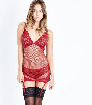 Red Fishnet and Lace Suspender Slip