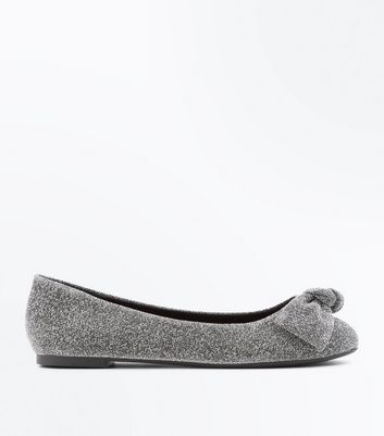 Wide Fit Silver Glitter Knot Top Ballet Pumps