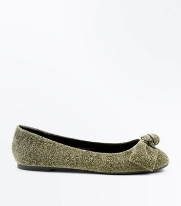 Wide Fit Gold Glitter Knot Top Ballet Pumps
