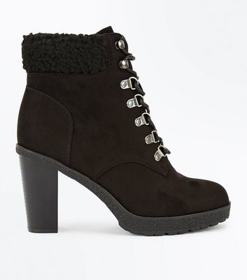 Wide Fit Black Suedette Borg Cuff Lace Up Boots