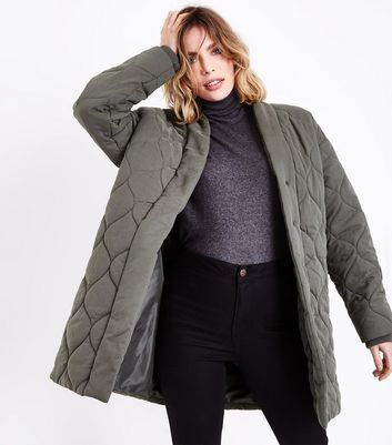 Olive Quilted Cocoon Jacket