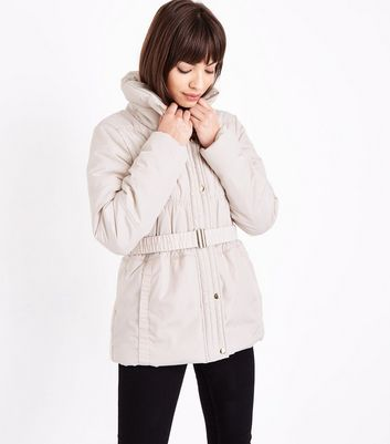 Cream High Neck Belted Puffer Jacket