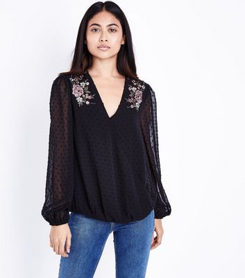 Petite Black Spot Mesh Floral Embroidered Blouse