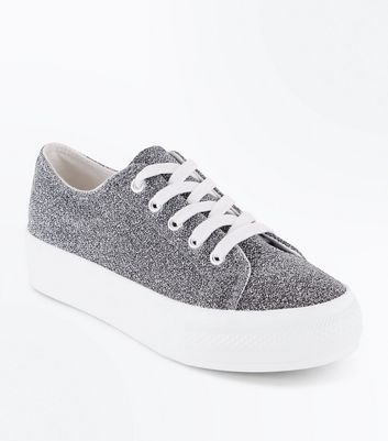 Wide Fit Silver Glitter Chunky Sole Trainers
