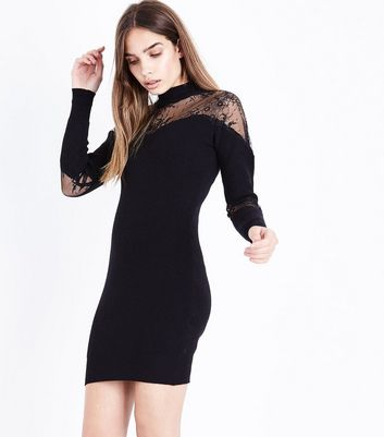 Blue Vanilla Black Lace Panel Jumper Dress