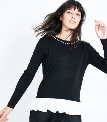 Blue Vanilla Black Pearl Neck Frill Hem Jumper