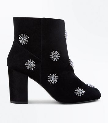Wide Fit Black Velvet Embellished Block Heel Boots