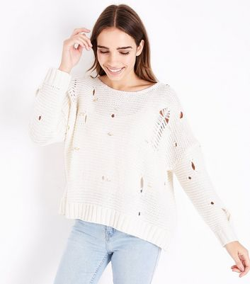 Pink Vanilla Cream Ripped Knit Jumper