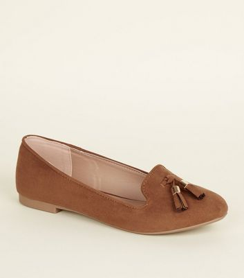 Tan Suedette Tassel Front Loafers