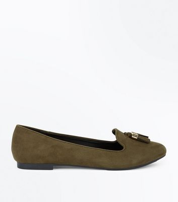Khaki Suedette Tassel Front Loafers