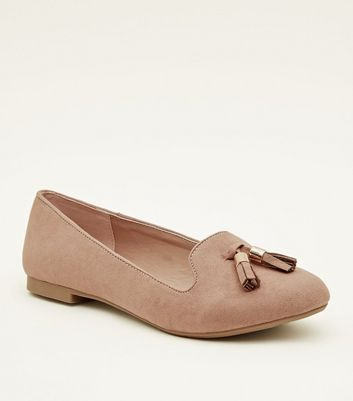 Pink Suedette Tassel Front Loafers by New Look