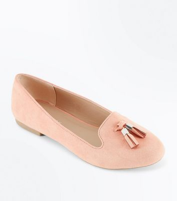 Coral Suedette Tassel Front Loafers