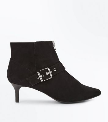 Wide Fit Black Comfort Flex Suedette Buckle Side Ankle Boots