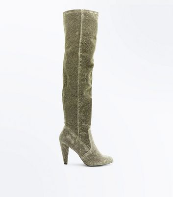 Wide Fit Gold Glitter Cone Heel Over The Knee Boots
