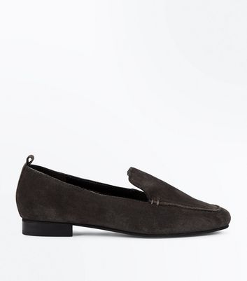 Dark Grey Suede Loafers