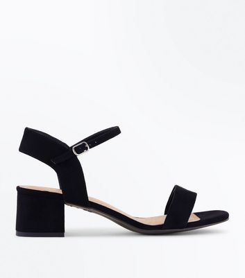 Wide Fit Black Comfort Flex Suedette Sandals