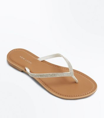 White Diamante Embellished Sandals