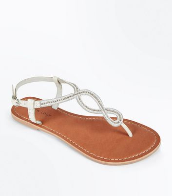 White Leather Embellished Cross Strap Sandals