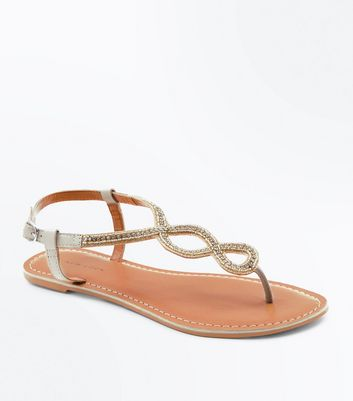 Nude Leather Embellished Cross Strap Sandals