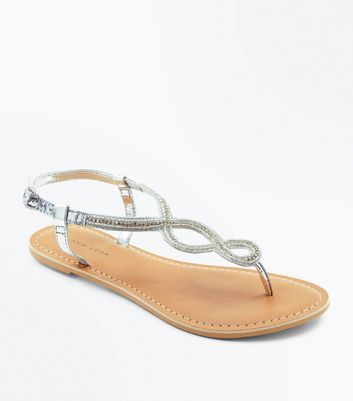 Silver Leather Bead Embellished Sandals by New Look