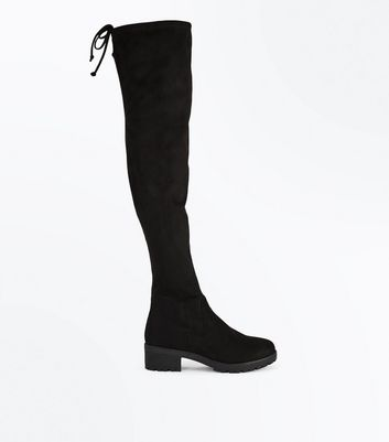 Black Suedette Cleated Sole Over the Knee Boots