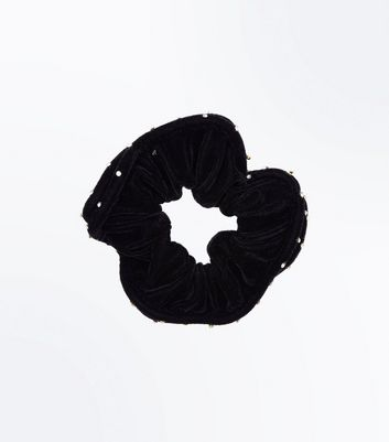 Black Diamante Trim Scrunchie