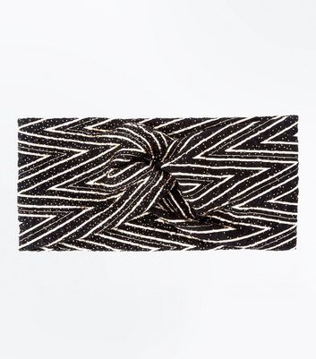 Black Metallic Zigzag Twist Front Hair Band