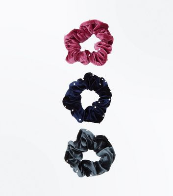 3 Pack Velvet Diamante Embellished Scrunchies
