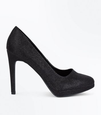 Black Glitter Platform Court Shoes