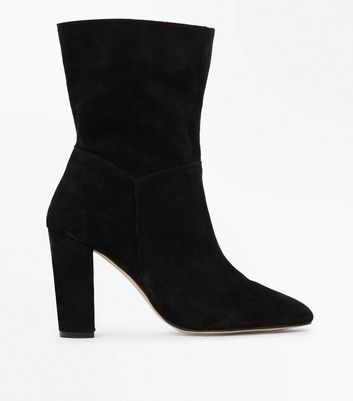 Black Premium Suede Slouchy Calf Boots