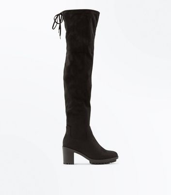 Wide Fit Black Suedette Block Heel Over The Knee Boots