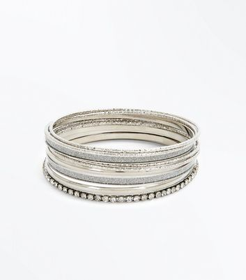 Silver Diamante Embellished Bangle Pack